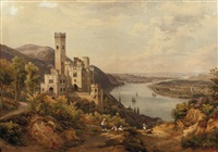 a panoramic river landscape with a castle by salomon corrodi