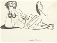 reclining nude, with a subsidiary study of a head by jankel adler