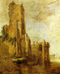 a river landscape with a figure in a boat before a ruined tower by françois van knibbergen
