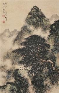 山水 立轴 设色纸本 by li xiongcai