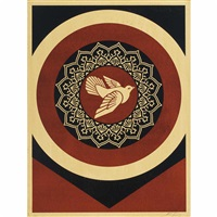 peace dove black and red by shepard fairey