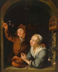 ein junges paar beim herstellen von seifenblasen by louis de moni