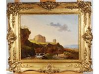 paysage animé avec fortifications au bord du torrent by françois gurnet