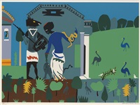 circe into swine (from odysseus) by romare bearden