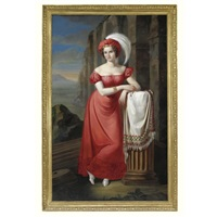 portrait of a lady in a red dress by pietro luchine