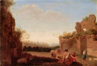 an arcadian landscape with herders and their animals before a set of ruins by jan (hermafrodito) linsen