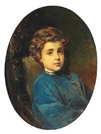 portrait of a boy in a blue russian shirt by konstantin egorovich makovsky