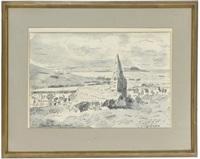 st. enoder, cornwall (+ an italian coastal view; 2 works) by adrian maurice daintrey