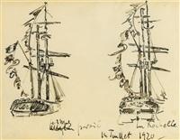 la rochelle, deux études d'un trois-mâts pavoisé by paul signac