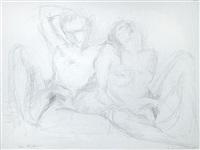 zwei sitzende weibliche akte von vorn by siegfried klotz