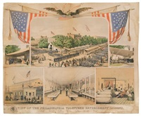 view of the philadelphia volunteer refreshment saloons by james queen