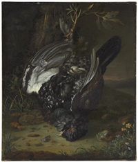 a blackcock in a wooded landscape by johann friedrich grooth