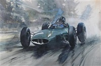 graham hill driving a lotus grand prix car by dion pears