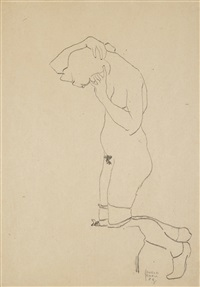 kniender weiblicher akt mit strümpfen (kneeling female nude with stockings) by egon schiele