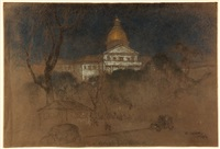 massachusetts state house viewed from the boston common by everett shinn