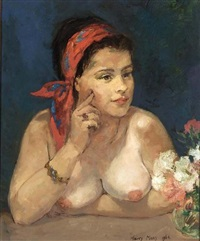 portrait of a woman wearing a red headscarf by harry maas