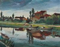barche sul fiume by mario lisa