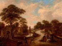 paysage au pont animé by klaes molenaer