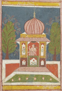 a musician with a vina seated in a domed pavilion by setmalar ragini