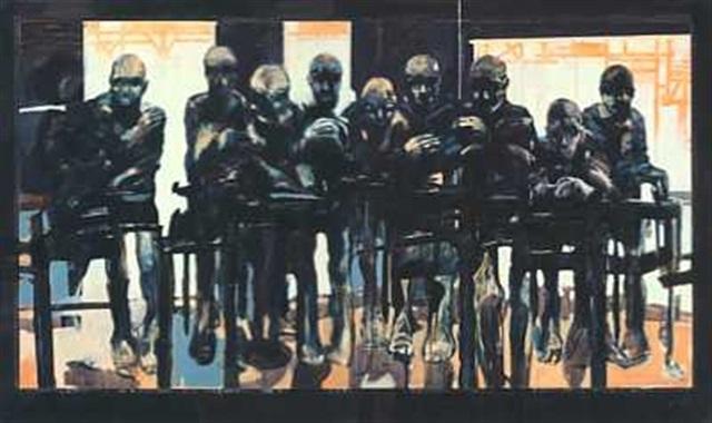 komposisjon med mennesker i en bar diptych by benjamin bergmann