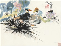春江水暖 镜框 设色纸本 by cheng shifa