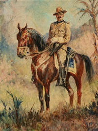 Teddy Roosevelt Rough Riders Painting