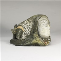 musk ox, polar bear, shaman, inukshuk composition by bill nasogaluak