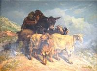 troupeaux de chèvres et âne by françois simon