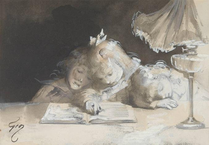 les enfants à la lecture by henry jules jean geoffroy