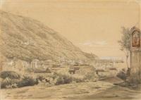 ischia, blick über die dächer von gran sentinella zum hafen, im hintergrund der vesuv by juan grossgasteiger