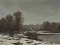bord de rivière enneigé by r. t. stuart
