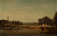 péniche en bord de rivière by emile charles lambinet