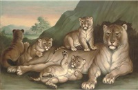 a lioness and her cubs by w. spilsbury
