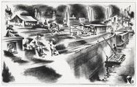 barge dwellers sunday (amphibians) by louis lozowick