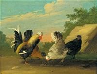 hühner in einer landschaft (+ hühner vor einem plankenzaun; pair) by johann adalbert angermayer