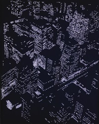 new york city by night, after berenice abbott (from pictures of diamonds) by vik muniz