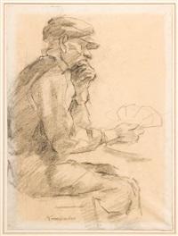 bauer beim kartenspiel (study for painting) by karl krummacher
