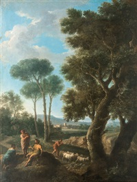 herdsmen in the roman campagna by andrea locatelli