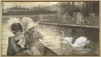 deux élégantes sur le grand canal au pied du grand trianon, versailles by josé simont