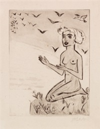 yali vi (das kniende mädchen mit den vögeln) by max pechstein