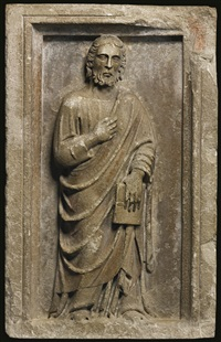 an apostle holding a book by tino di camaino