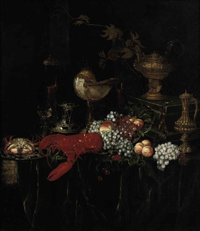 a lobster a crab on an enameled plate peaches grapes glasses of wine and gilded vessels on a draped table by abraham van beyeren