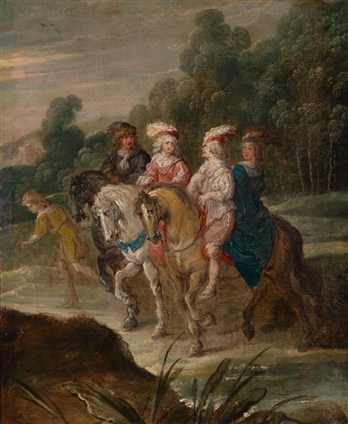 landschaft mit einer eleganten berittenen gesellschaft by hans jordaens iii