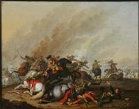 battle scenes (pair) by pieter wouwerman