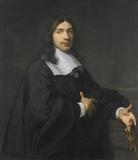 portrait of a gentleman, three quarter length, standing, wearing a black cloak with a large flat collar and tassels, and holding a pair of gloves by karel dujardin