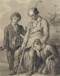 a blind beggar with two young boys, one with a hurdy-gurdy by philippe de witte