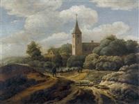 dünenlandschaft mit heimkehrendem jäger und kirche by jan hooft