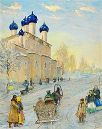 winter day in russia with street life near a five-domed church by olga (grand duchess) alexandrovna