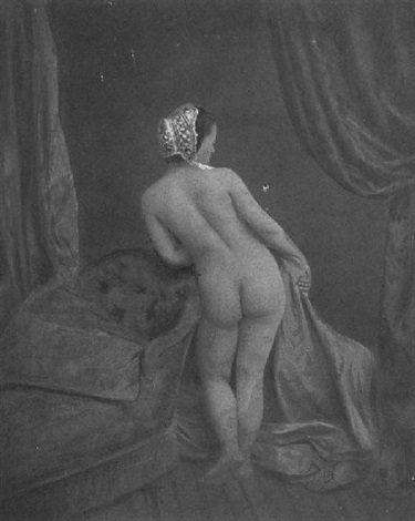 stehender weiblicher rückenakt nach rechts blickend by joseph auguste belloc