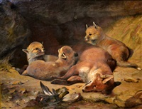 rest and play (a vixen and her cubs) by elizabeth arkwright